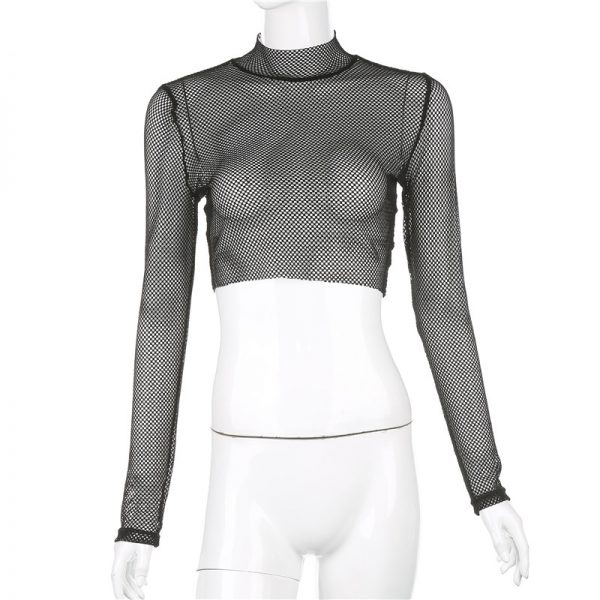 Black Long Sleeve Sheer Mesh Crop Top